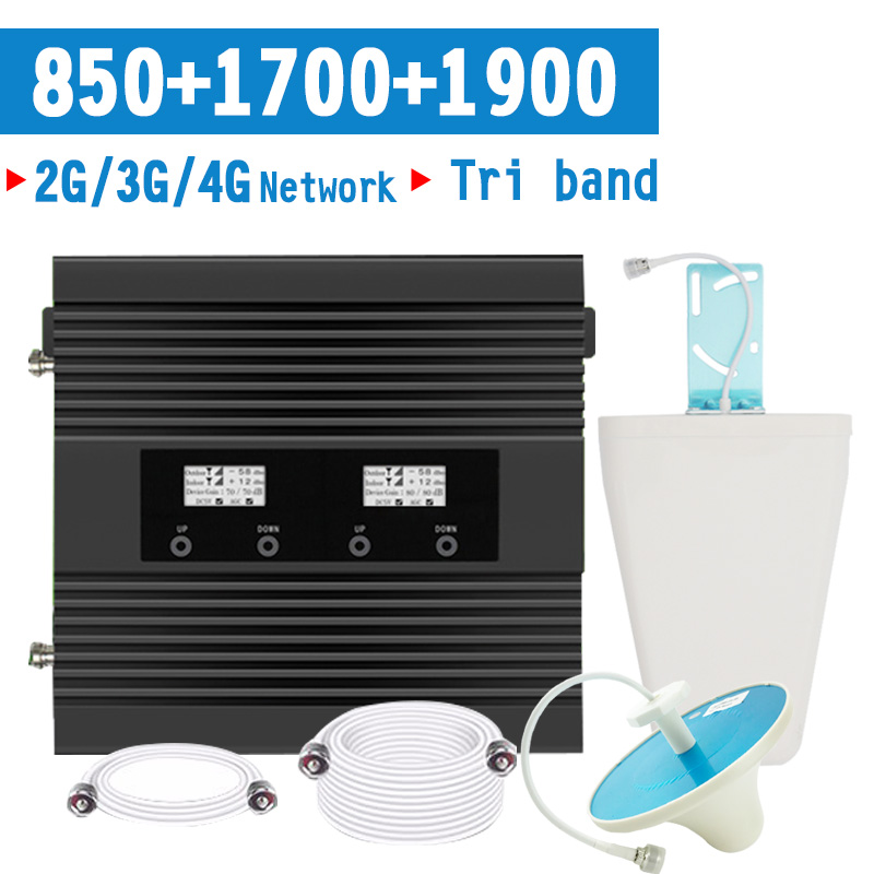 2G 3G 4G 850 1900 1700 2100 Tri-band Cell Phone Cellular Signal Booster CDMA PCS LTE 1700/2100 Mobile Signal Amplifier Repeater