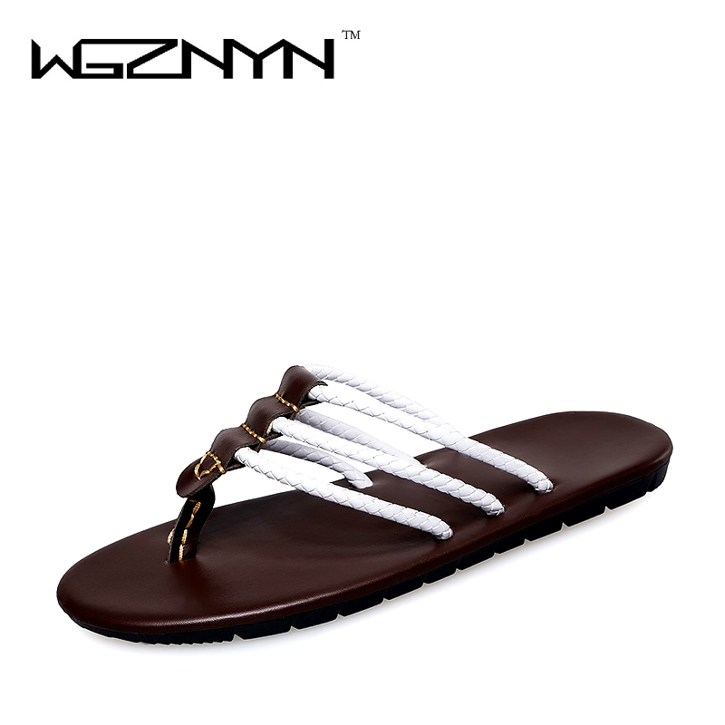 2017 Famous Brand Designer PU Leather Men Sandals Slippers Summer Fashion Men Casual Beach Shoes Flip Flops NX0209 ravensburger ravensburger пазл венеция 1000 шт