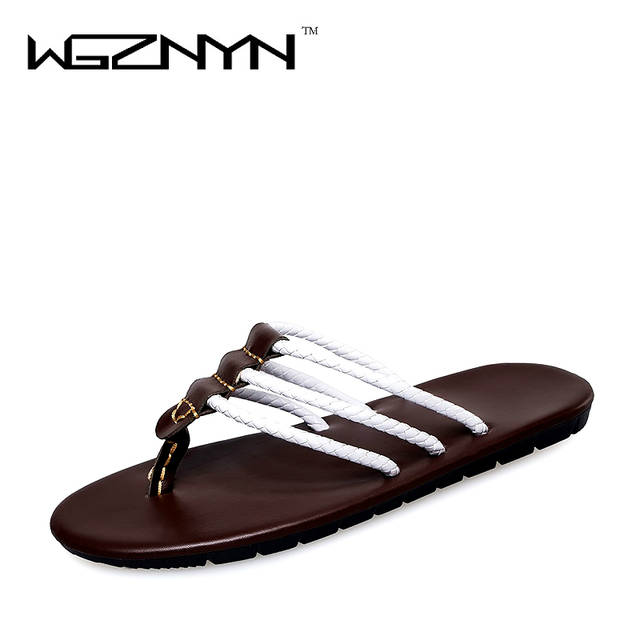 4b1920b532b Online Shop 2017 Famous Brand Designer PU Leather Men Sandals Summer  Fashion Men Casual Beach Shoes Flip Flops NX0209