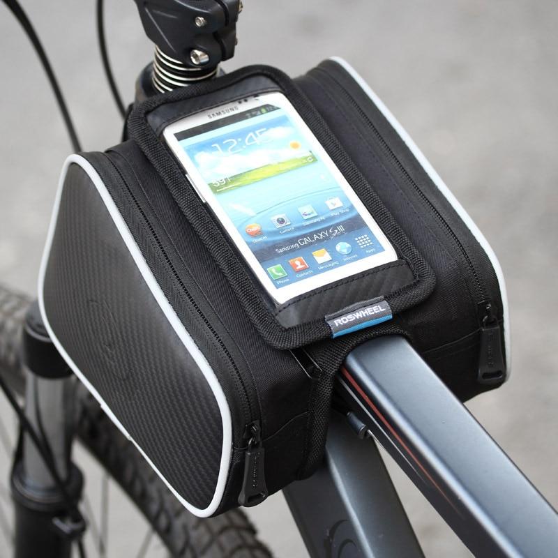 Waterproof Cycling Bag Bike Front Frame Pannier Tube Bag For Mobile Phones