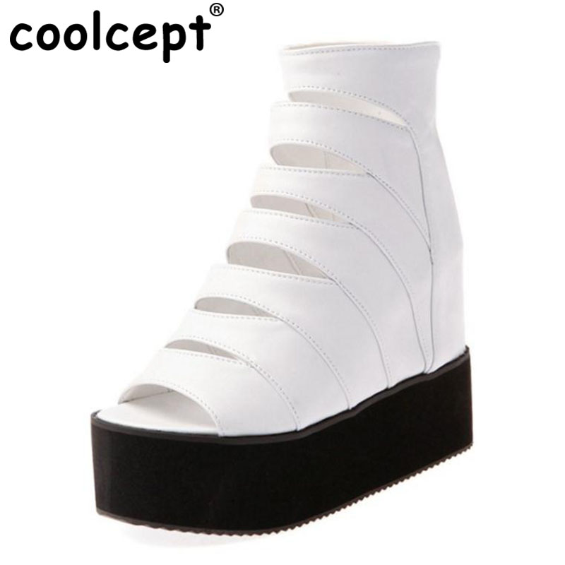 Coolcept Platform Summer Boots Gladiator Med-calf Peep Toe Hollow Out Zipper Wholesale White Wedges Causal Women Shoes Size32-43 phyanic 2017 gladiator sandals gold silver shoes woman summer platform wedges glitters creepers casual women shoes phy3323