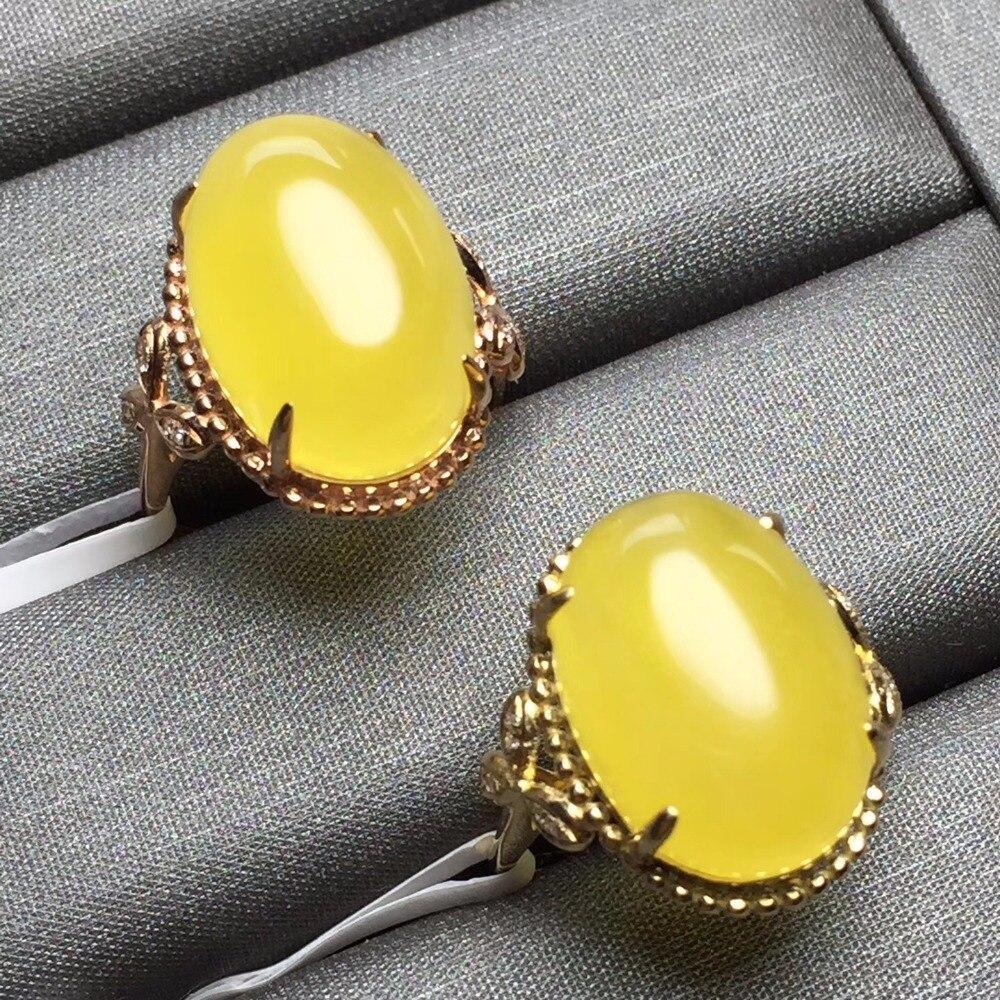 Taille personnalisée véritable 18 K or Rose AU750 100% bijoux en ambre naturel pierres précieuses Anillos diamants anneaux pour femmes bague Fine