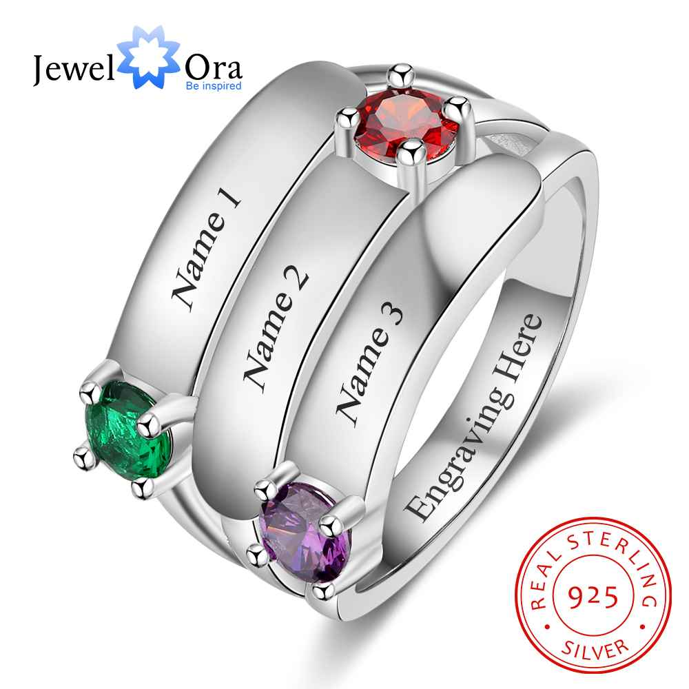 Personalized Gift for Mommy Engrave 3 Names 3 Childrens Birthstone Promise Rings 925 Sterling Silver Jewelry (JewelOra RI103280)