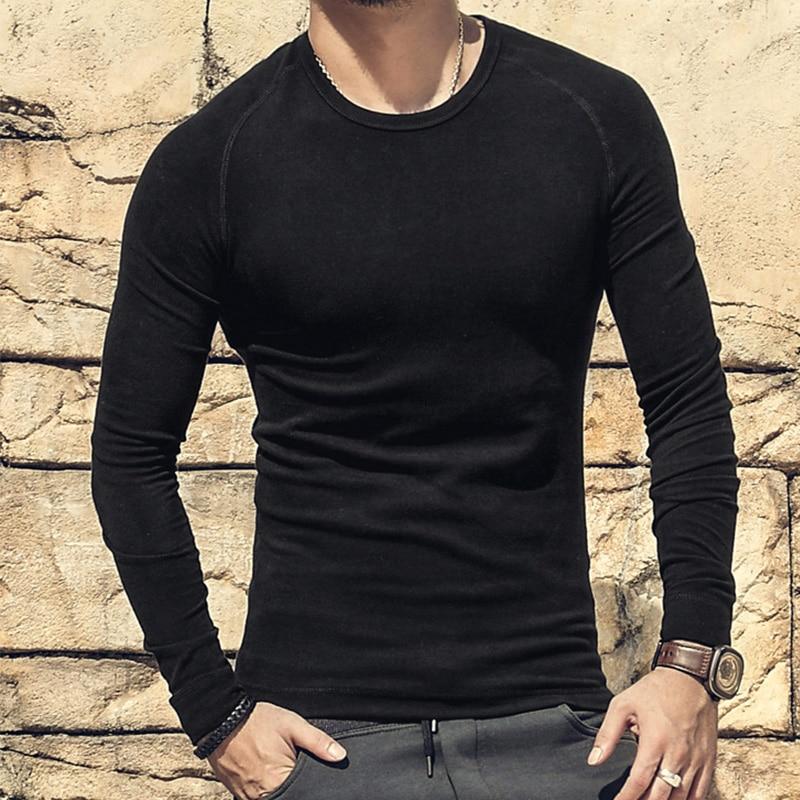 Online Shop Men Cotton T Shirt Warm Raglan Long Sleeve Plain ...