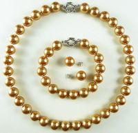 Prett Lovely Women S Wedding FREE Shipping New AAA 12mm Champagne Luxurious Shell Pearl Bracelet Earring