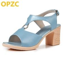 OPZC 2018 الصنادل الصيفية جلد طبيعي المرأة الجديدة الأزياء الحلو عالية الكعب الصنادل الرومانية المصارع منصة أحذية النساء