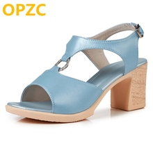 OPZC 2018 새로운 정품 가죽 여성 여름 샌들 패션 달콤한 하이힐 로마 샌들 검투사 플랫폼 신발 여성