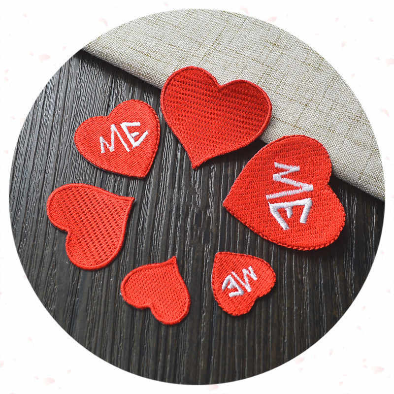 Red Heart Iron On Patches For Clothing Love Me Letter Embroidery Patch For  T Shirt Dress Applique Apparel Sewing Fabric Stickers