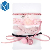 4pcs/set Elastic Hair Accessories Hair Ropes Gum Women Girls Flowers Bows Headband Hair Bands Crystal Rubber Hairband With Pearl
