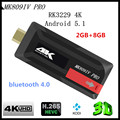 Lo nuevo 2 GB MK809IV Pro RK3229 Quad Core Android 5.1 Smart Mini TV Stick HDMI TV Dongle Bluetooth MK809 IV, envío libre