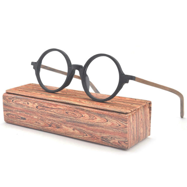 MINCL/Vintage Round Handmade Wood Frame Glasses Frame With Case -in ...