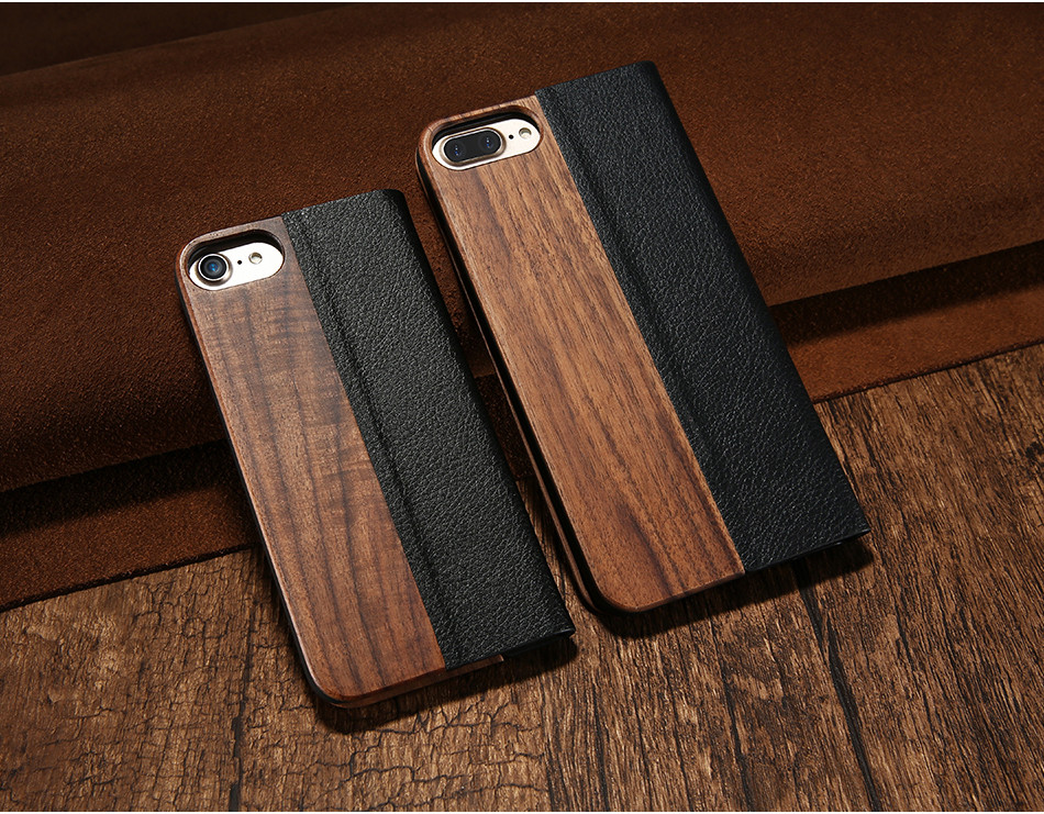 DOEES Real Wood Leather Case For iPhone 6 6S 7 7 Plus Cover Stand Holder Card Slot Vintage Cover For iPhone 6 7 Flip Wallet Case (3)