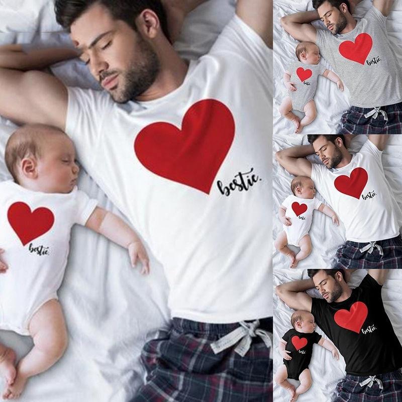 CALOFE famille correspondant vêtements coeur homme T shirt papa et tenues père fils papa bébé garçon enfants Look torridité frères 1