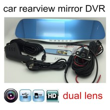 Cheap price new arrival car Rearview Mirror DVR Full HD 1080P Dual Lens 4.3″LCD include Rear View Camera camcorder dash cam