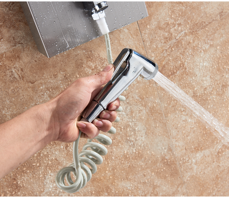HTB1UJCqXvvsK1RjSspdq6AZepXa4 LED Light Shower Faucet Bathroom Waterfall Rain Black Shower Panel In Wall Shower System with Spa Massage Sprayer and Bidet Tap