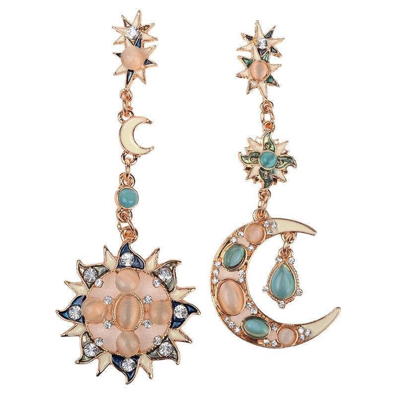 Elegant Gold Star Sun God & Moon Crystal Rhinestone  Earrings NEW