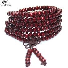 108 Rosette  Buddha Beads Bracelet 6mm Wooden Beads Hand Make Ornaments Buddhist  Beaded Bracelet Unisex E-70
