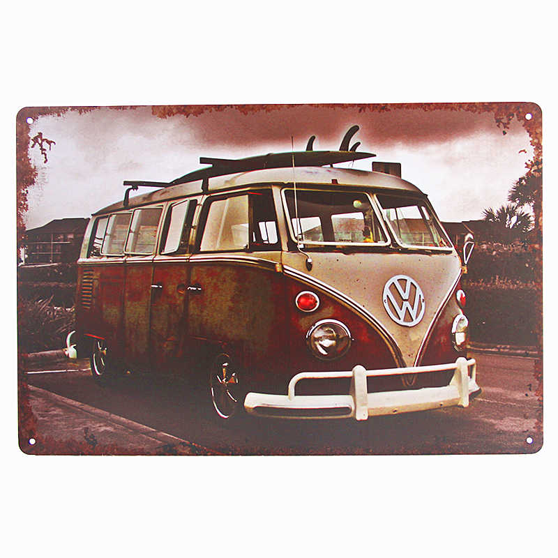 Bus Wagon Motorcycle Car License Plate Vintage Home Decor Tin Signs Bar Pub Art Poster Rustic Garage Wall Plaque