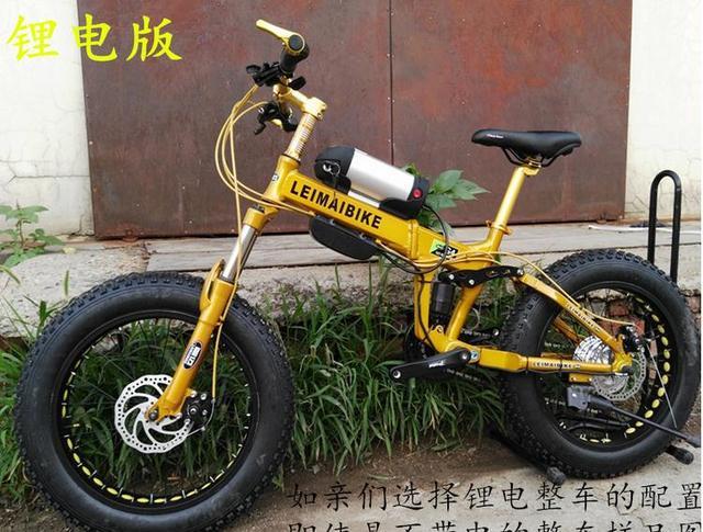 41d8f93035a Kalosse 20*4.0 Beach bicycle Folding frame electric snow bike 48V 350W  electric Children bike 27 speed M4000