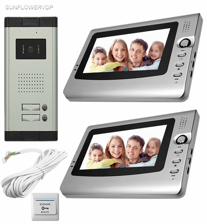 SUNFLOWERVDP For 2 Private Apartments 7-inch Video Intercom Smart Technology Video Door Phone Intercom 2 Buttons CCD Camera