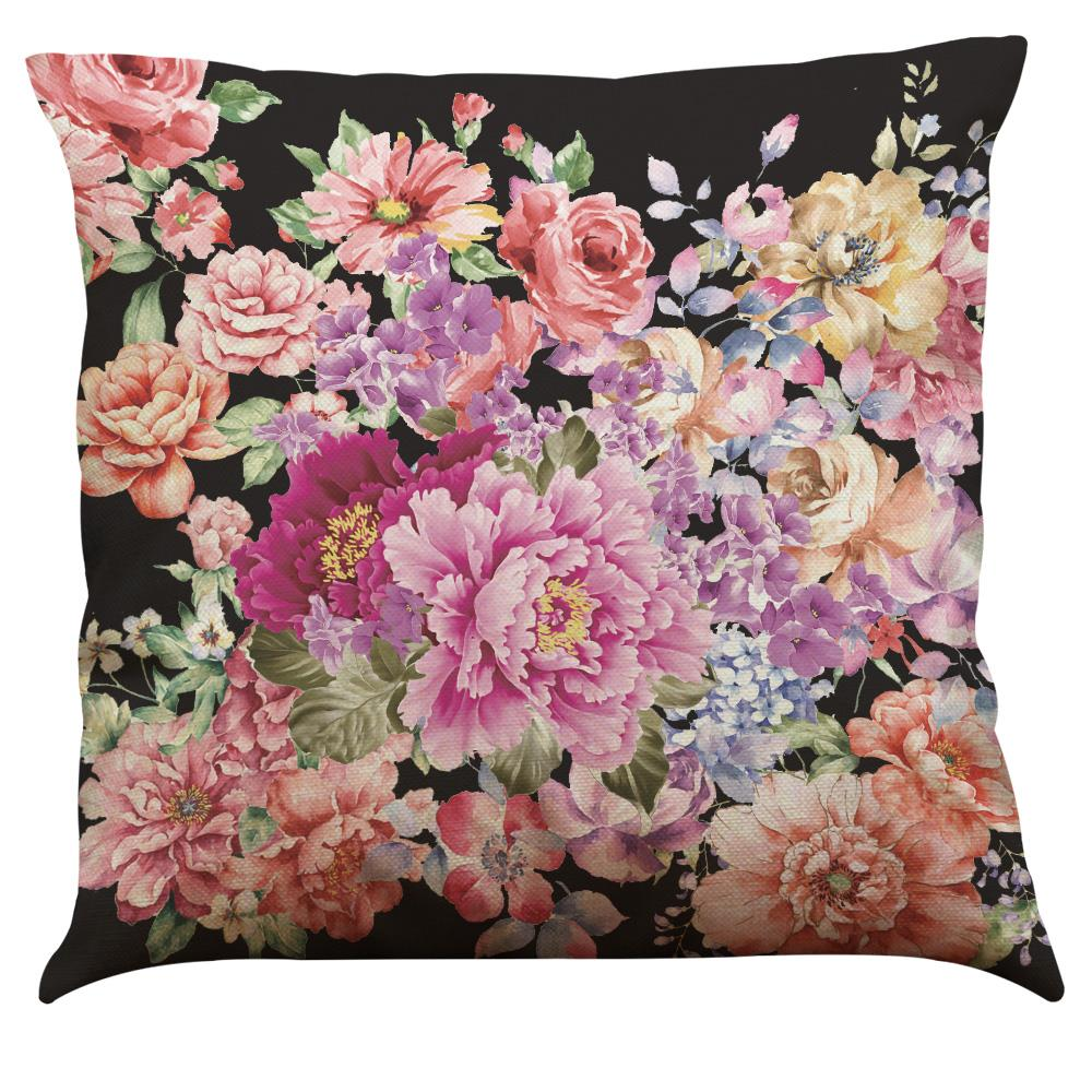 45x45cm Big Flower Style Pillowcase Polyester And Linen