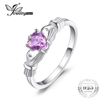 JewelryPalace Natural Amethyst Irish Claddagh Ring Solid 925 Sterling Silver Love Heart Fine Jewelry February Birthstone