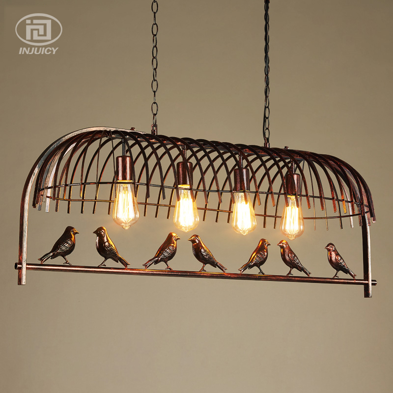 Vintage Industrial Birdcage Chandelier Lighting Black & Rust Iron Art Hanging Light for Dining Room Cafe Bar Store Restaurant industrial vintage wrought iron chandelier hemp rope lamps fabric lampshade d35cm d40cm d45cm art restaurant cafe room lighting