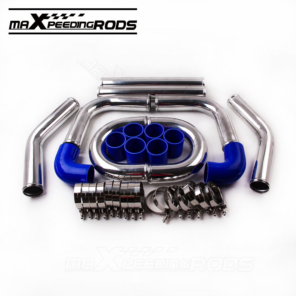 2.5 64mm Aluminum Universal Intercooler Turbo Piping pipe + RED hose T-Couplers for all turbo 31x12x3 inch universal turbo fmic intercooler 3 inch piping kit toyota supra mkiii mk3 7mgte