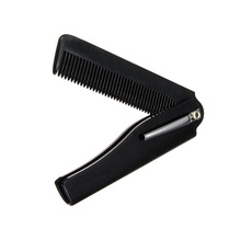 Hot! Mens Womens Beauty Handmade Folding Pocket Clip Hair Moustache Beard Comb Black