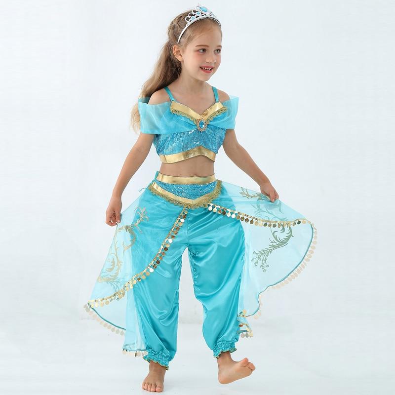 Girls Kid Summer Jasmine Princess Dance Dress Suit Aladdin Halloween Christmas Performance Costume Top Skirt Pant Two piece Set индийский костюм для танцев девочек