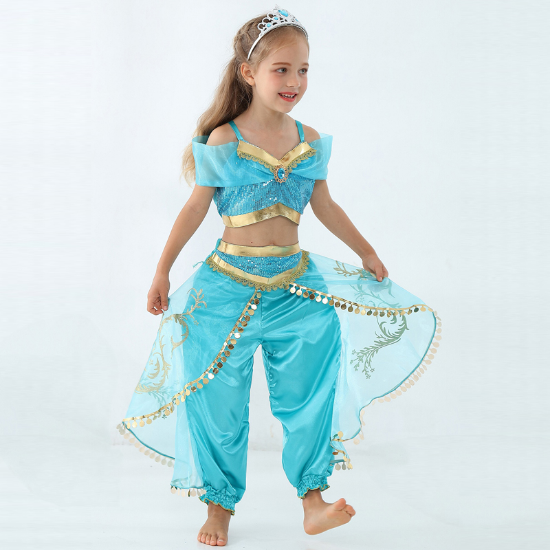 Girls Kid Summer Jasmine Princess Dance Dress Suit Aladdin Halloween Christmas Performance Costume Top Skirt Pant Two Piece Set