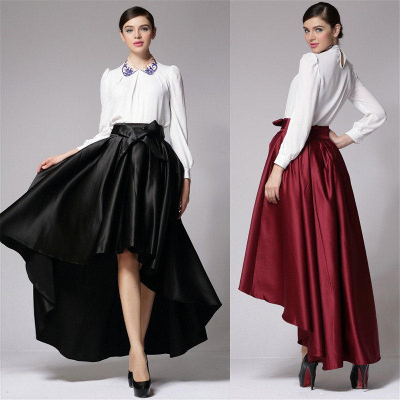 dbaeaef592ef Long Satin Skirts Women 2016 Plus Size 5XL Autumn Vintage Hi Low  Asymmetrical Bow Belt Party Maxi Skirt Hot Sale Pleated Skirt-in Skirts  from Women's ...