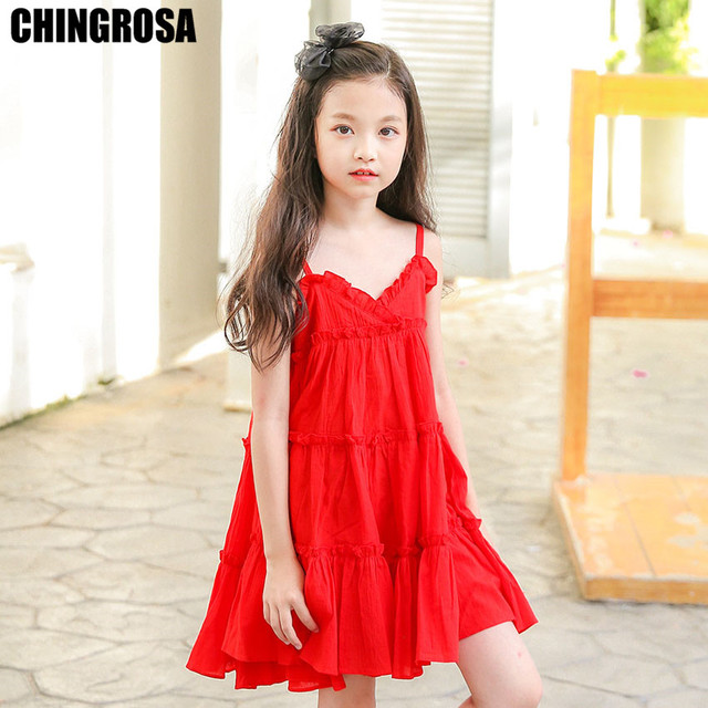 639509e715 CHINGROSA Red Tiered Solid Ruched Girls Mini Dresses Linen Cotton Princess  Beach Summer Dress Kids Clothing Vestidos Infantil
