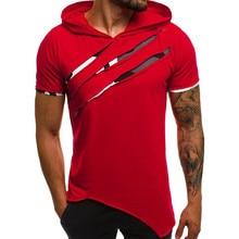 Мужская футболка, футболка, уличная, странные вещи,, модная, короткая, Sle, летняя, повседневная, Лоскутная, тонкая, короткий рукав, с капюшоном, Z4
