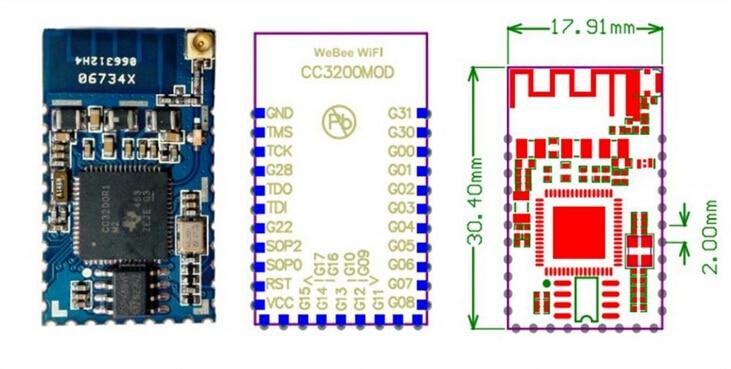 5PCS LOT Ultra low power wifi module CC3200