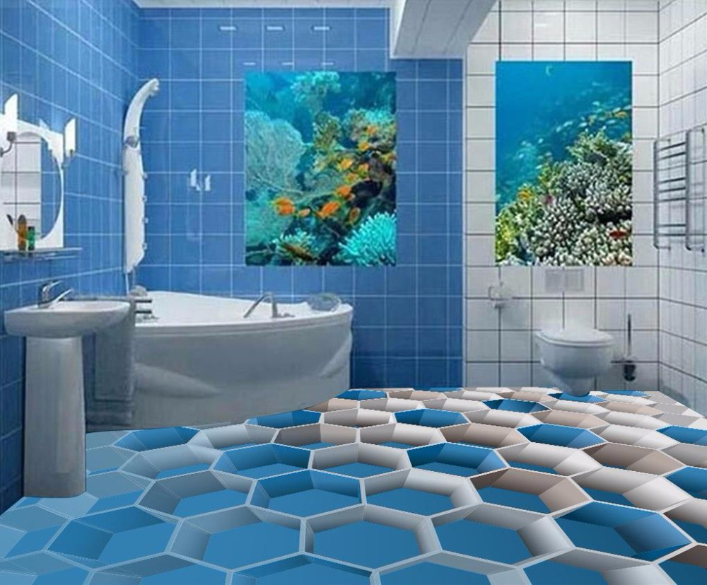 New style 3d sterepscopic blue eight box flooring murals wallpaper ...