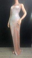 Women Fashion Sexy Long Dress Shining Rhinestones Skinny Trailing Dress Nightclub Prom Party One Piece Model Show Stage Costume