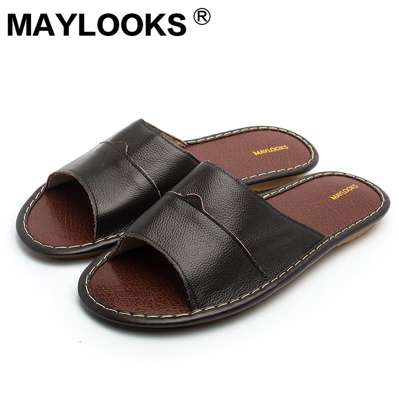 Leather home cowhide men summer leather cool font b slippers b font beef tendon bottom 8001