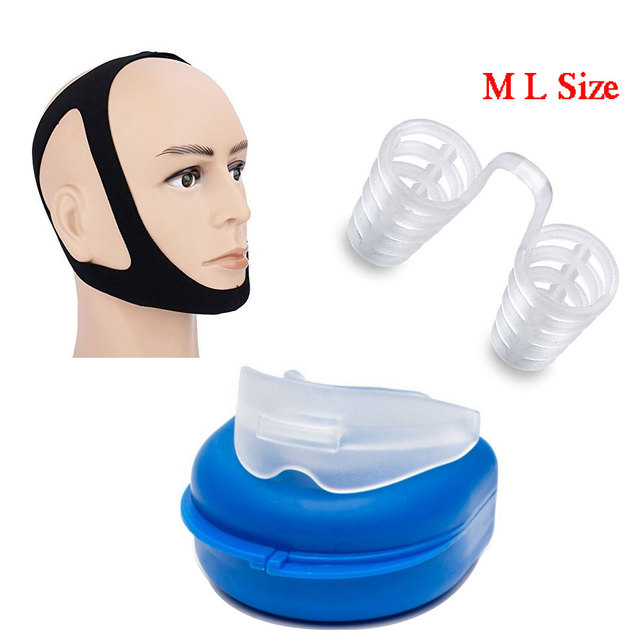 Anti-Snore Solutions Anti Snoring Belt Chin Strap Nasal Dilators M L Mouth Guard