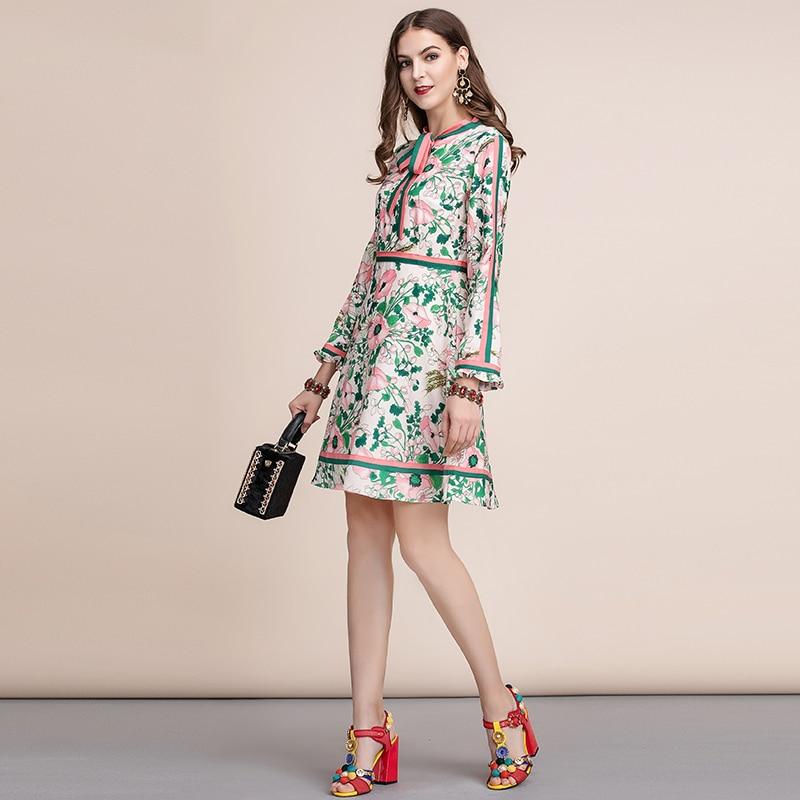 Limo 割引価格 秋のファッション滑走路長袖ドレス女性のベルト付き襟多色花柄ヴィンテージエレガントなドレス Dollar 4