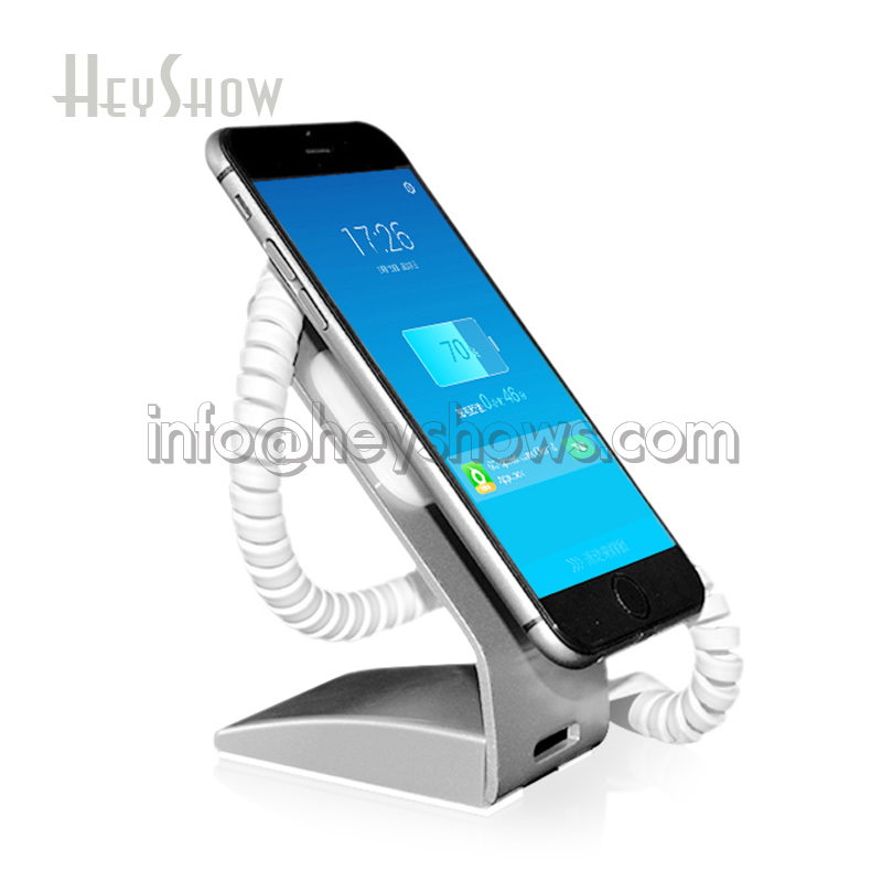 Chargable Metal Mobile Smart Phone Security Stand Cellphone Shop Burglar Alarm System Anti-theft Display Holder  For Retail Shop