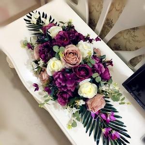 Image 4 - 高級diyの結婚式の装飾テーブルの花ランナー造花行配置テーブルセンターピースローズユリシャクヤクグリーンリーフ