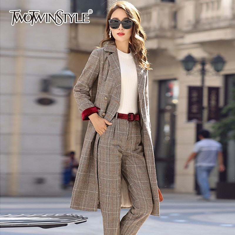TWOTWINSTYLE Plaid Blazer Suit Female Laprl Collar Double Breasted Slim Long Coats With Sashes High Waist