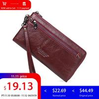 Contact's Brand Card Holder Women Wallet Leather Genuine Wrist Strap Clutch Female Wallet Money Bag Coin Pocket Walet Coin Purse
