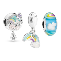 Spring Silver 925 Jewelry Rainbow Design Beads Sets DIY Making for Charms Bracelets Color Murano Glass Beads & Floating Pendants