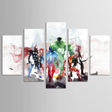 цена на 5 panel painted abstract comic oil painting canvas retro movie star green giant American super hero Avenger movie poster print