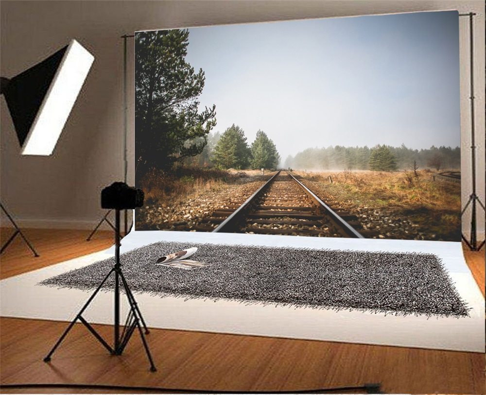 Laeacco Countryside Railway Trees Sky Photography Backgrounds Customized Photographic Backdrops For Photo Studio