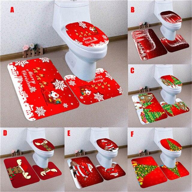 3 PCS Conjunto De Banheiro Natal Nao Slip Tapete Tampa Do Vaso