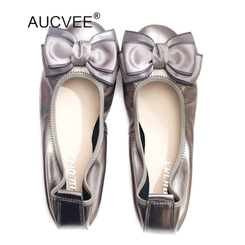 New Arrival Women' s Genuine Leather Flats Fashion Round Toe Bow Slip on Ballet Flats Vintage Cow Leather Ballerinas Size 34 43