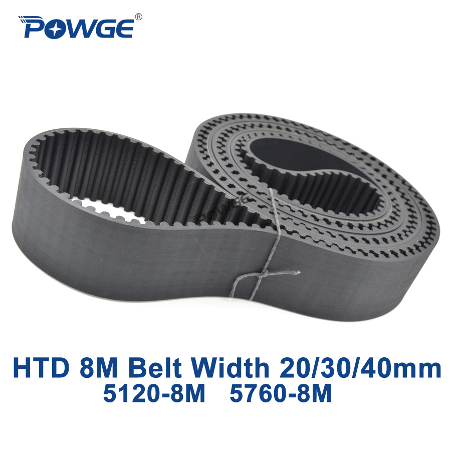 POWGE Arc Tooth HTD 8M synchronous belt C=5120/5760 width 20/30/40mm Teeth 640 720  Rubber HTD8M Timing Belt 5120-8M 5760-8M 1217 mantra